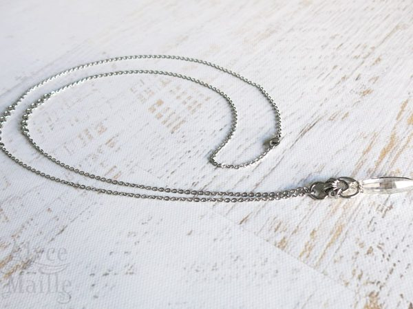 Crystal Shard Crystal Pendant Necklace - Stainless Steel Jewelry