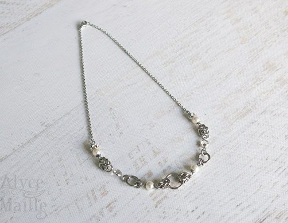 White Pearl Crystal and Stainless Steel Necklace