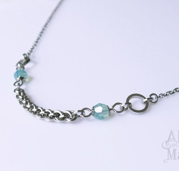 Sea Green Opal Crystal Necklace