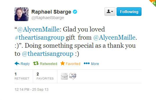 Actor Raphael Sbarge sending a Thank You to Alyce n Maille - Once Upon a Time, Mass Effect