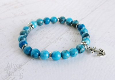 Blue Crazy Lace Agate Gemstone Bracelet
