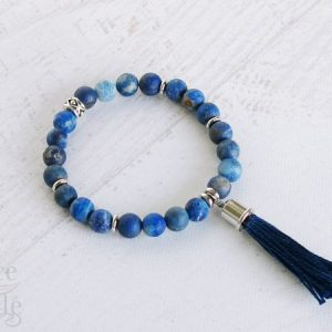 Matte Denim Lapis Gemstone Bracelet