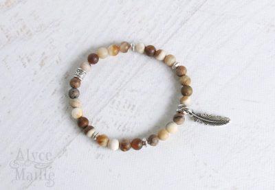 Petite Matte Wood Opalite Gemstone Bracelet