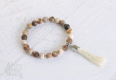 Matte Wood Opalite Gemstone Bracelet