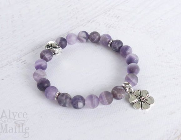 Matte Dog Teeth Amethyst Gemstone Bracelet