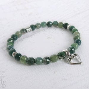 Diamond Cut Moss Agate Gemstone Bracelet