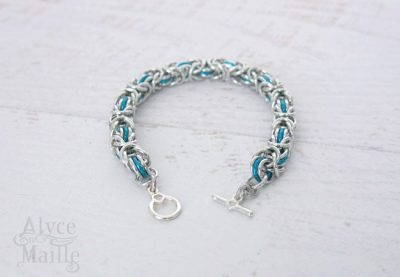 Turquoise Blue Byzantine Chainmaille Bracelet