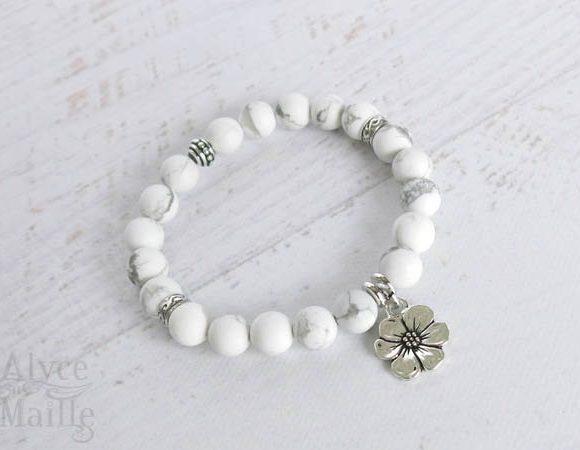 Matte White Howlite Gemstone Bracelet