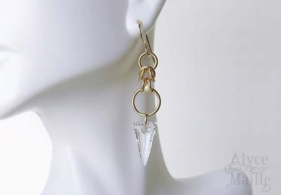 Alyce n Maille Crystal Spike Gold Earrings