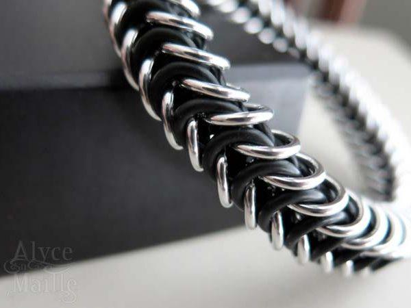 Alyce n Maille Men's Black and Silver Bracelet