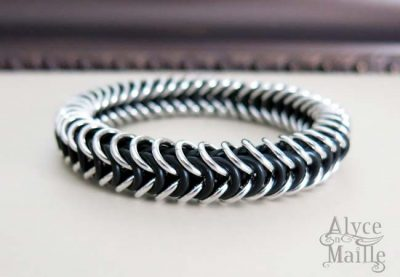 Alyce n Maille Men's Black and Silver Bracelet