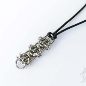 Alyce n Maille Celtic Men's Stainless Steel and Leather Necklace