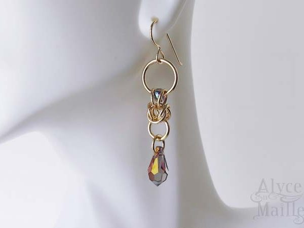 Nora's Lilac Crystal and Gold Earrings as seen on The Vampire Diaries