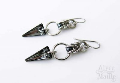 Alyce n Maille Crystal Spike Stainless Steel Earrings