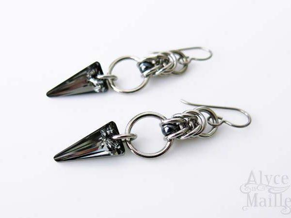 Alyce n Maille Crystal Spike Stainless Steel Earrings