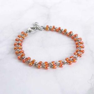 Alyce n Maille Tangerine Dream Beaded Stainless Steel Anklet