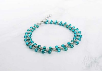 Alyce n Maille Teal Glass Beaded Stainless Steel Anklet