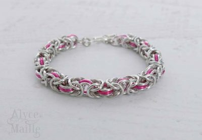 Pink Byzantine Chainmaille Bracelet