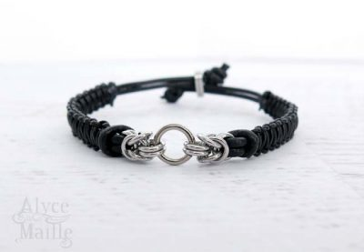 Alyce n Maille Stainless Steel and Black Leather Bracelet
