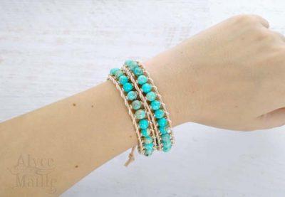 Alyce n Maille Jasper Leather Wrap Bracelet
