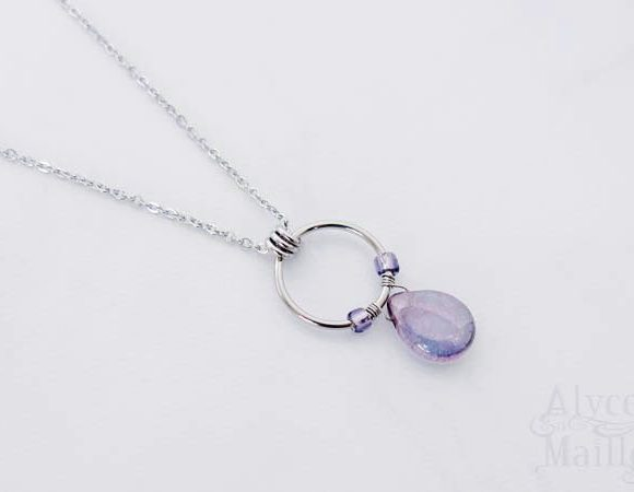 Amethyst Glass Flower Petal Pendant